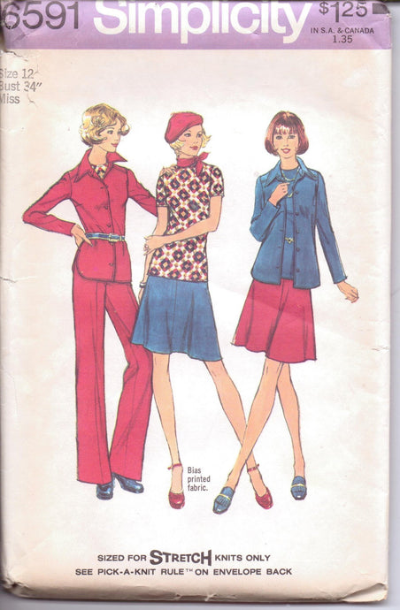 Simplicity 6591 Ladies Shirt Jacket Skirt Pants Stretch Knits Vintage 1970's Sewing Pattern - VintageStitching - Vintage Sewing Patterns