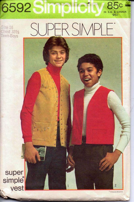 Simplicity 6592 Vintage 1970's Sewing Pattern Teen Boy Vest Super Simple - VintageStitching - Vintage Sewing Patterns