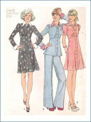 Simplicity 6606 Ladies Short Dress Top Pants Vintage Sewing Pattern - VintageStitching - Vintage Sewing Patterns