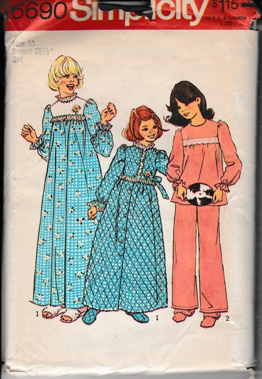 Simplicity 6690 Girls Nightgown Robe Pajamas Vintage 1970's Sewing Pattern - VintageStitching - Vintage Sewing Patterns
