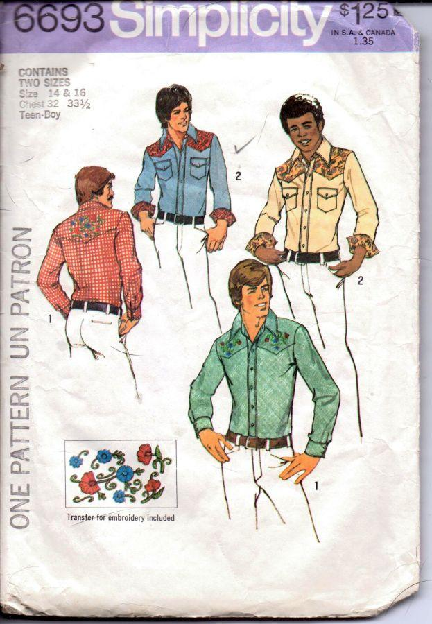 Simplicity 6693 Vintage 1970's Sewing Pattern Mens Long Sleeve Western Shirt with Yoke Teen Boy - VintageStitching - Vintage Sewing Patterns