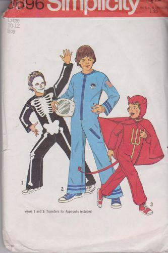 Simplicity 6696 Boys Skeleton Astronaut Devil Halloween Costume Vintage Pattern - VintageStitching - Vintage Sewing Patterns