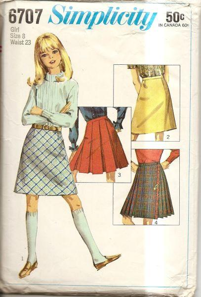 Simplicity 6707 Vintage 1960's Sewing Pattern Girls Skirt - VintageStitching - Vintage Sewing Patterns