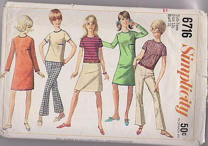 Simplicity 6716 Sub-Teen Girls Dress Top Hiphugger Pants Vintage Sewing Pattern - VintageStitching - Vintage Sewing Patterns