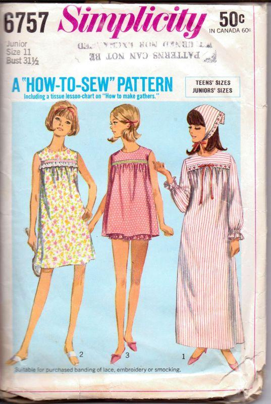 Simplicity 6757 Vintage 1960's Sewing Pattern Ladies Lingerie Baby Doll Nightgown Pajamas Long Shortie Junior - VintageStitching - Vintage Sewing Patterns