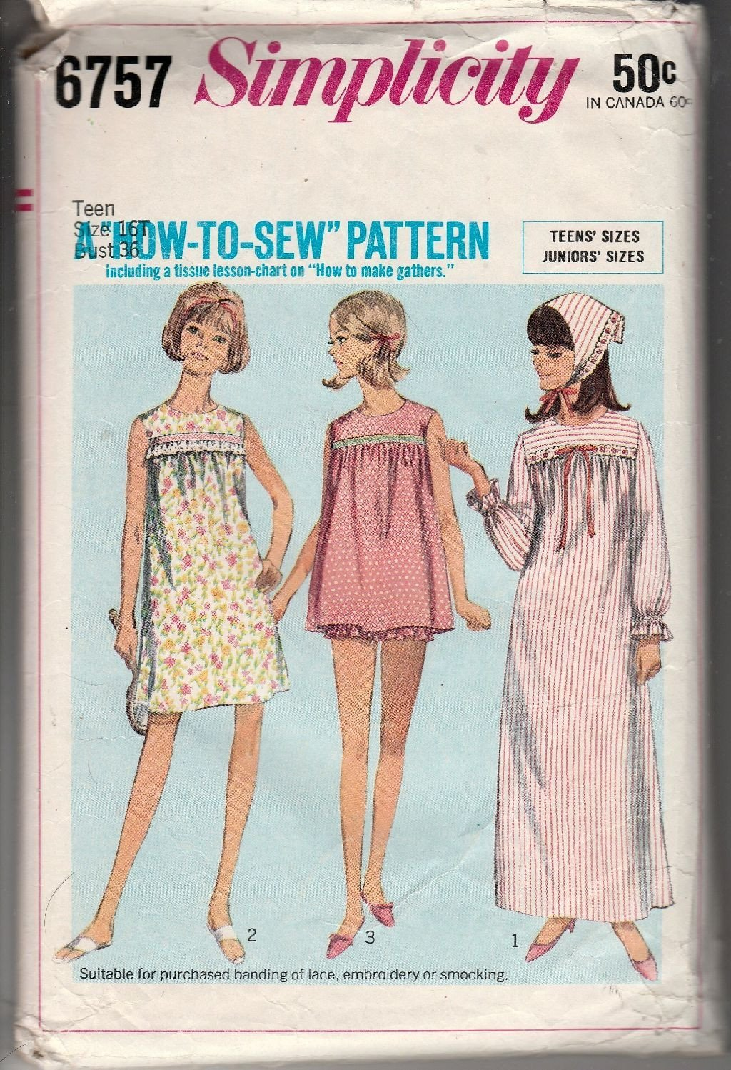 Simplicity 6757 Vintage 1960's Sewing Pattern Teen Girl Pajamas Baby Doll Nightgown - VintageStitching - Vintage Sewing Patterns