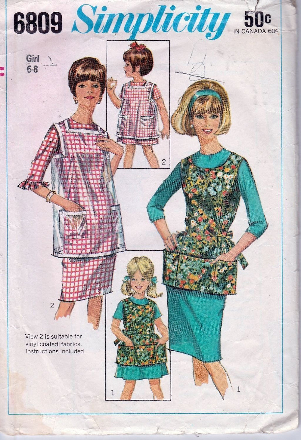 Simplicity 6809 Vintage Sewing Pattern Childs Cobbler Apron Back Closing - VintageStitching - Vintage Sewing Patterns