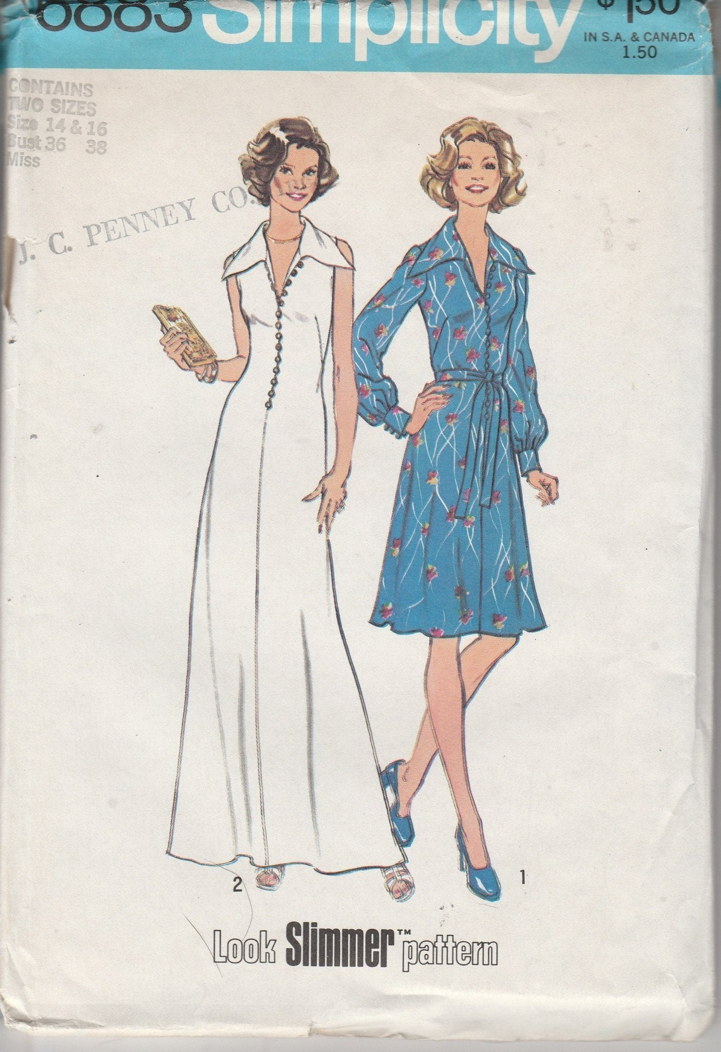 Simplicity 6883 Vintage 1970's Sewing Pattern Ladies Maxi Dress - VintageStitching - Vintage Sewing Patterns