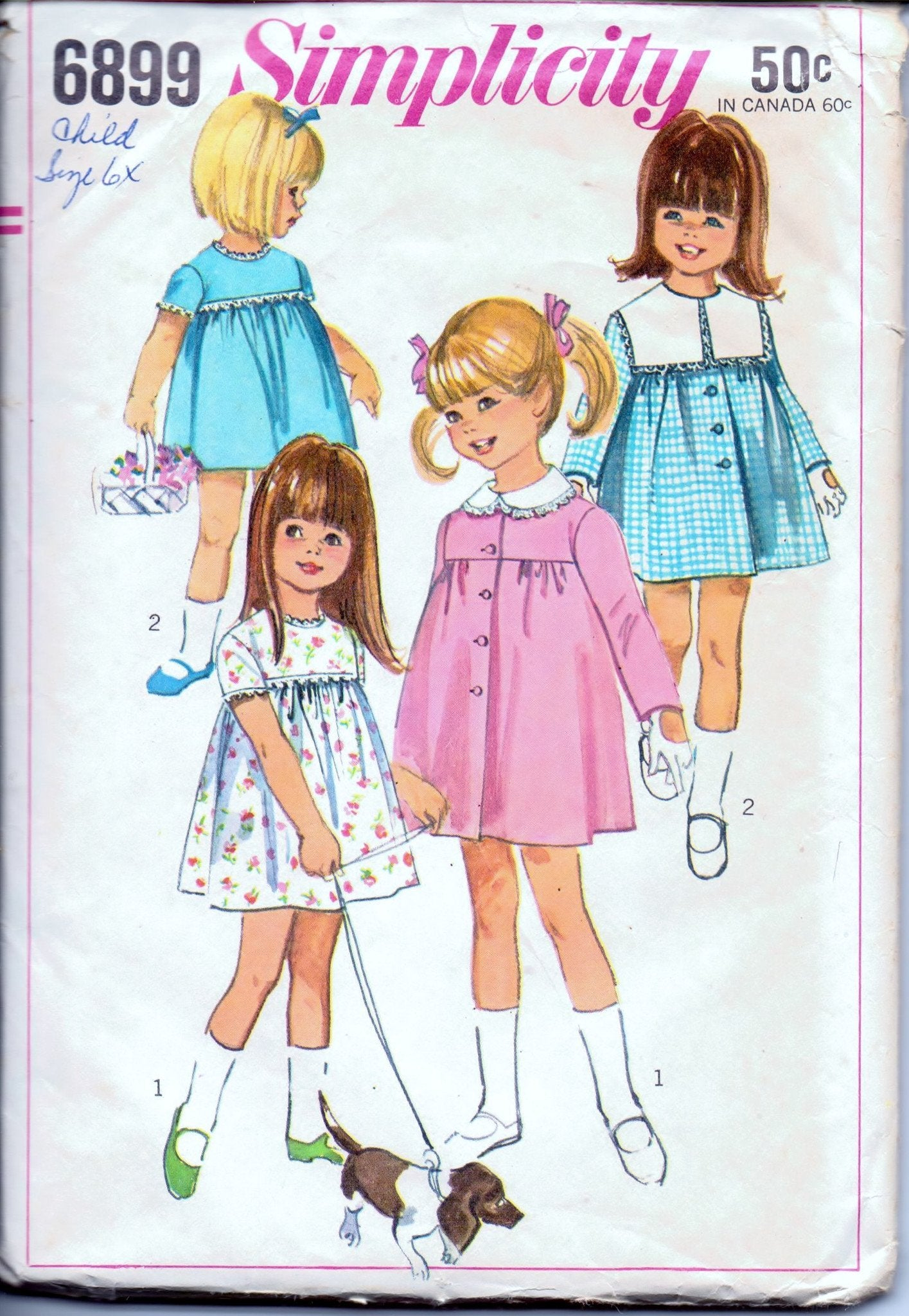 Simplicity 6899 Little Girls' One Piece Dress and Coat Vintage 1960's Sewing Pattern - VintageStitching - Vintage Sewing Patterns