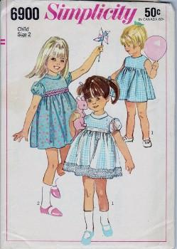 Simplicity 6900 Toddler One-Piece Pinafore Dress Vintage 1960's Sewing Pattern - VintageStitching - Vintage Sewing Patterns