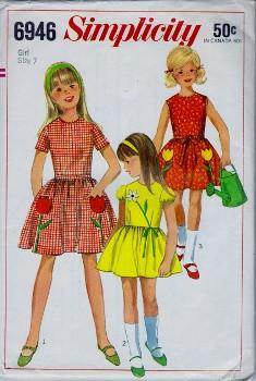 Simplicity 6946 Girls One Piece Shirt Dress Vintage 60's Sewing Pattern - VintageStitching - Vintage Sewing Patterns