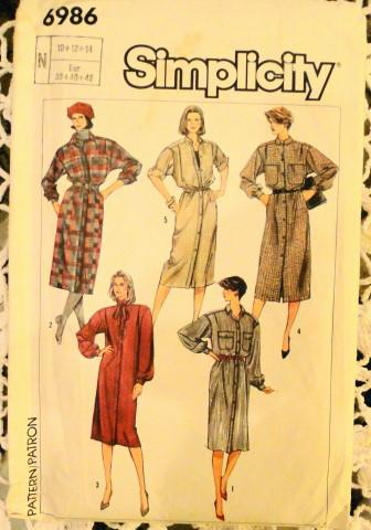Simplicity 6986 Vintage Sewing Pattern Ladies Dress Front Buttoned - VintageStitching - Vintage Sewing Patterns