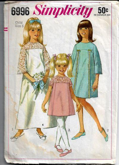 Simplicity 6996 Vintage Sewing Pattern 1960s Girls Flower Girl Dress Gown - VintageStitching - Vintage Sewing Patterns