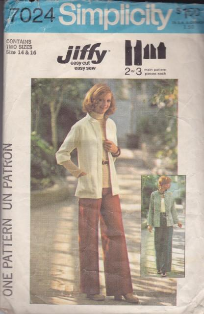 Simplicity 7024 Ladies Jacket and Pants Vintage Sewing Pattern - VintageStitching - Vintage Sewing Patterns
