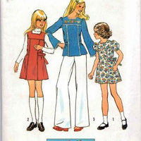 Simplicity 7035 Girls Jumper Short Dress Top Vintage 1970's Sewing Pattern - VintageStitching - Vintage Sewing Patterns