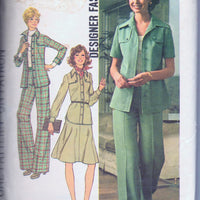 Simplicity 7046 Ladies Shirt Jacket Pants Skirt Vintage 1970's Sewing Pattern - VintageStitching - Vintage Sewing Patterns