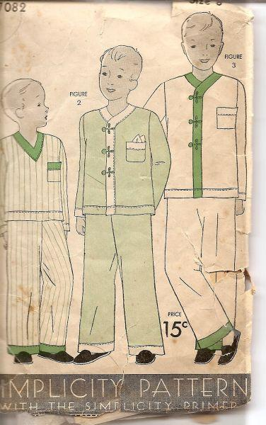 Simplicity 7082 1930's Vintage Sewing Pattern Boys Pajamas - VintageStitching - Vintage Sewing Patterns