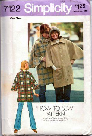 Simplicity 7122 Ladies Zippered Poncho Vintage Sewing Pattern - VintageStitching - Vintage Sewing Patterns