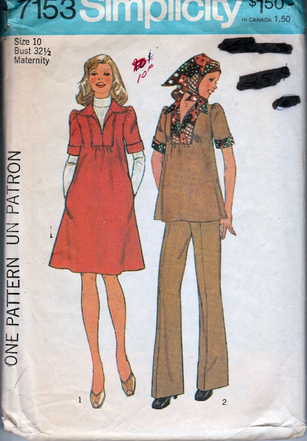 Simplicity 7153 Vintage 1970's Sewing Pattern Ladies Maternity Top Dress Pants Scarf - VintageStitching - Vintage Sewing Patterns