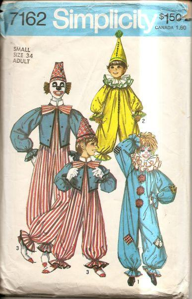 Simplicity 7162 Vintage 1970's Sewing Pattern Clown Costume Adult - VintageStitching - Vintage Sewing Patterns