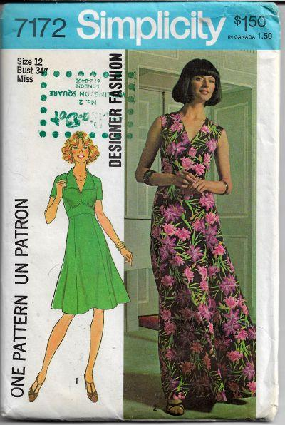 Simplicity 7172 Vintage Sewing Pattern 1970s Ladies Dress Gown - VintageStitching - Vintage Sewing Patterns