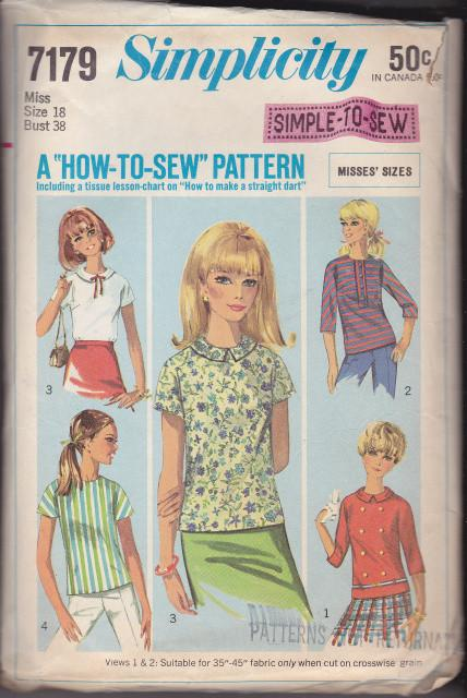 Simplicity 7179 Misses Blouse Vintage 1960's Sewing Pattern Easy Sew - VintageStitching - Vintage Sewing Patterns