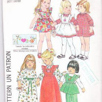 Simplicity 7197 Vintage Sewing Pattern Toddler Dress Pinafore Pants - VintageStitching - Vintage Sewing Patterns