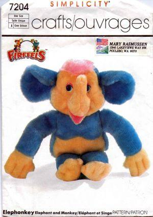 Simplicity 7204 Firffels Stuffed Animal Elephonkey Elephant Monkey Toy Vintage 80's Craft Pattern - VintageStitching - Vintage Sewing Patterns