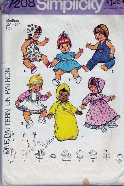 Simplicity 7208 Doll Clothes Pattern Ginny Baby Powder Puff Vintage 1970's Sewing Pattern - VintageStitching - Vintage Sewing Patterns