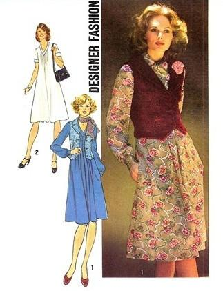 Simplicity 7216 Ladies Dress Vest Scarf Vintage Sewing Pattern 1970's - VintageStitching - Vintage Sewing Patterns