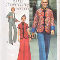 Simplicity 7224 Ladies Jacket Skirt Pants Vintage 1970's Sewing Pattern Young Contemporary Fashion - VintageStitching - Vintage Sewing Patterns