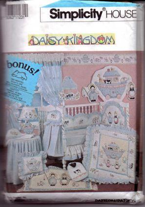 Simplicity 7255 Baby Crib Quilt Bumper Pad Dust Ruffle Towel Daisy Kingdom - VintageStitching - Vintage Sewing Patterns