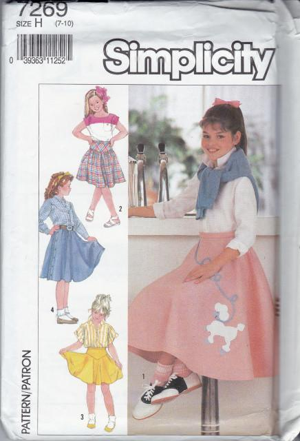 Simplicity 7269 Girls PoodleSkirt Set Vintage 1990's Pattern - VintageStitching - Vintage Sewing Patterns