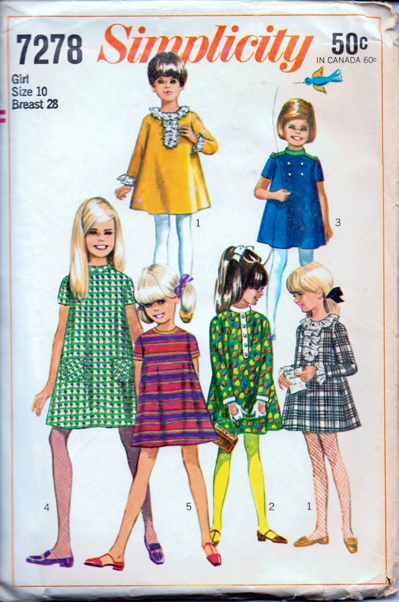 Simplicity 7278 Young Girls' Tent Dress with Detachable Neck Vintage 60's Sewing Pattern - VintageStitching - Vintage Sewing Patterns