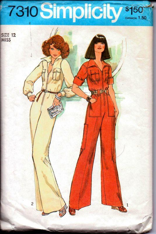 Simplicity 7310 Vintage 1970's Sewing Pattern Ladies Bell Bottom Disco Jumpsuit Front Zipper - VintageStitching - Vintage Sewing Patterns
