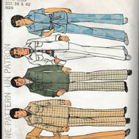 Simplicity 7314 Mens Shirt Jacket Pants Vintage 1970's Sewing Pattern - VintageStitching - Vintage Sewing Patterns