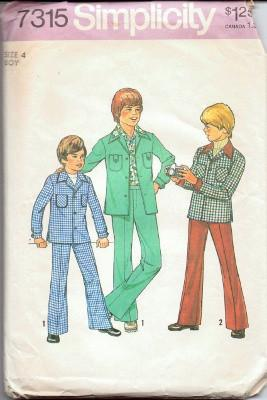 Simplicity 7315 Boys Shirt Jacket Pants Vintage 1970's Pattern - VintageStitching - Vintage Sewing Patterns