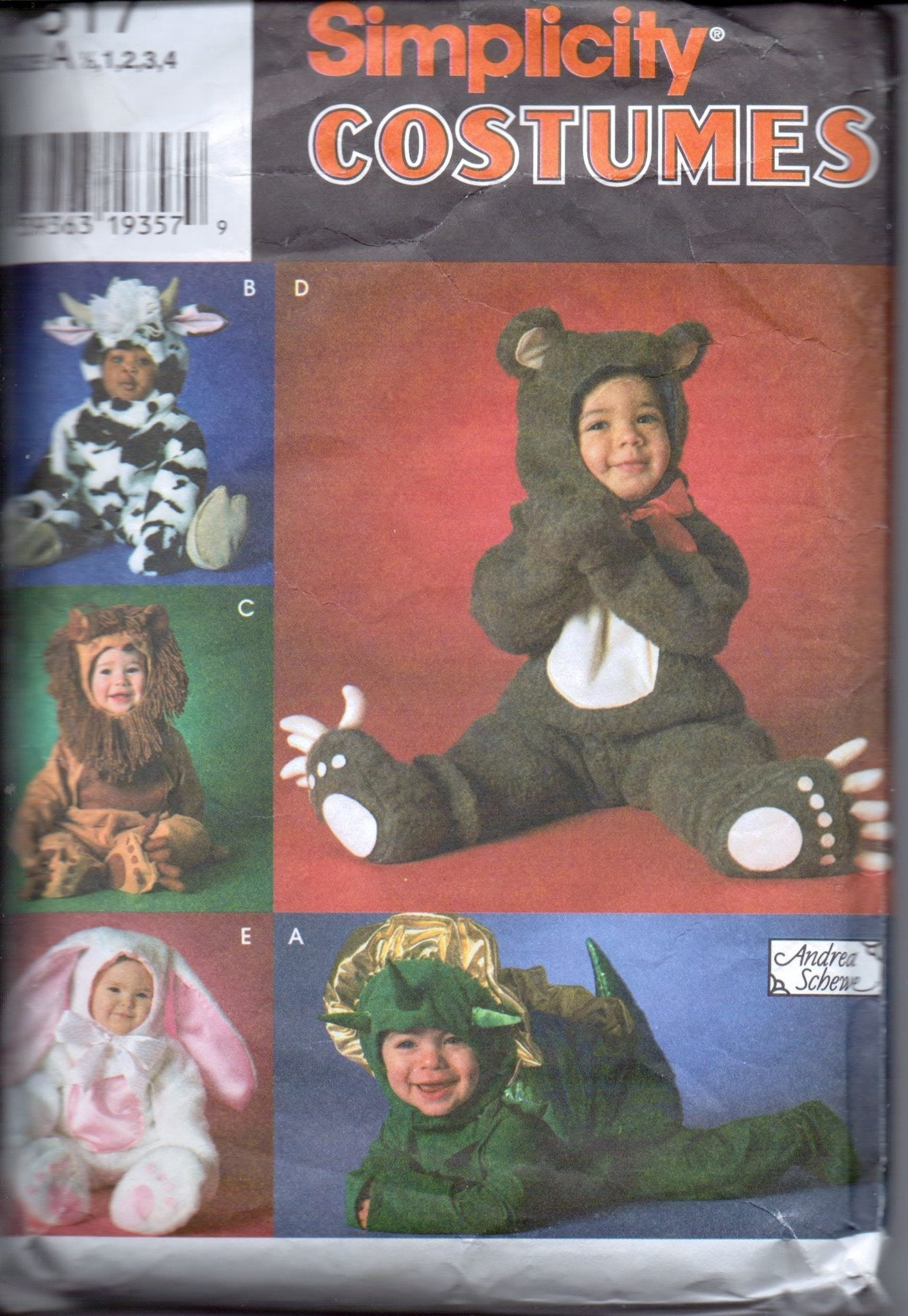 Simplicity 7317 Toddler Halloween Costume Pattern Dinosaur Lion Bunny Bear Cow Jumpsuit Hood - VintageStitching - Vintage Sewing Patterns
