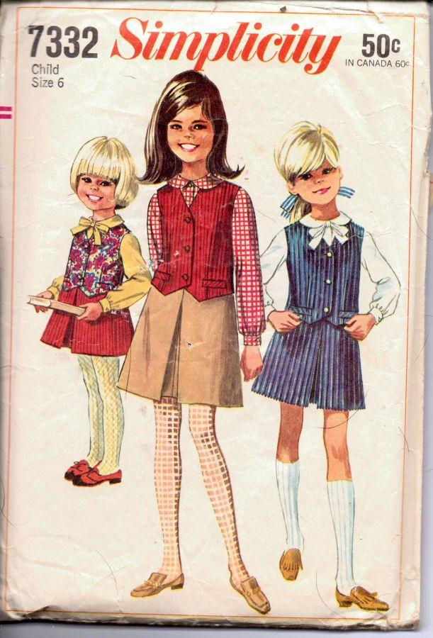 Simplicity 7332 Vintage 1960's Sewing Pattern Little Girls Long Sleeve Blouse Vest Inverted Pleat Skirt - VintageStitching - Vintage Sewing Patterns