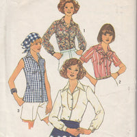 Simplicity 7353 Vintage 1970's Sewing Pattern Ladies Button Front Blouse - VintageStitching - Vintage Sewing Patterns