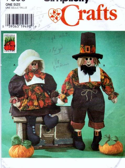 Simplicity 7360 Harvest Scarecrow Dolls Pumpkin Vintage Craft Pattern - VintageStitching - Vintage Sewing Patterns