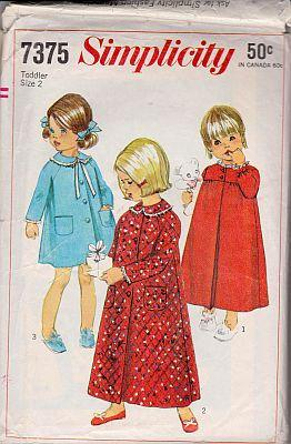 Simplicity 7375 Toddler Short or Long Robe Nightgown Vintage Pattern - VintageStitching - Vintage Sewing Patterns