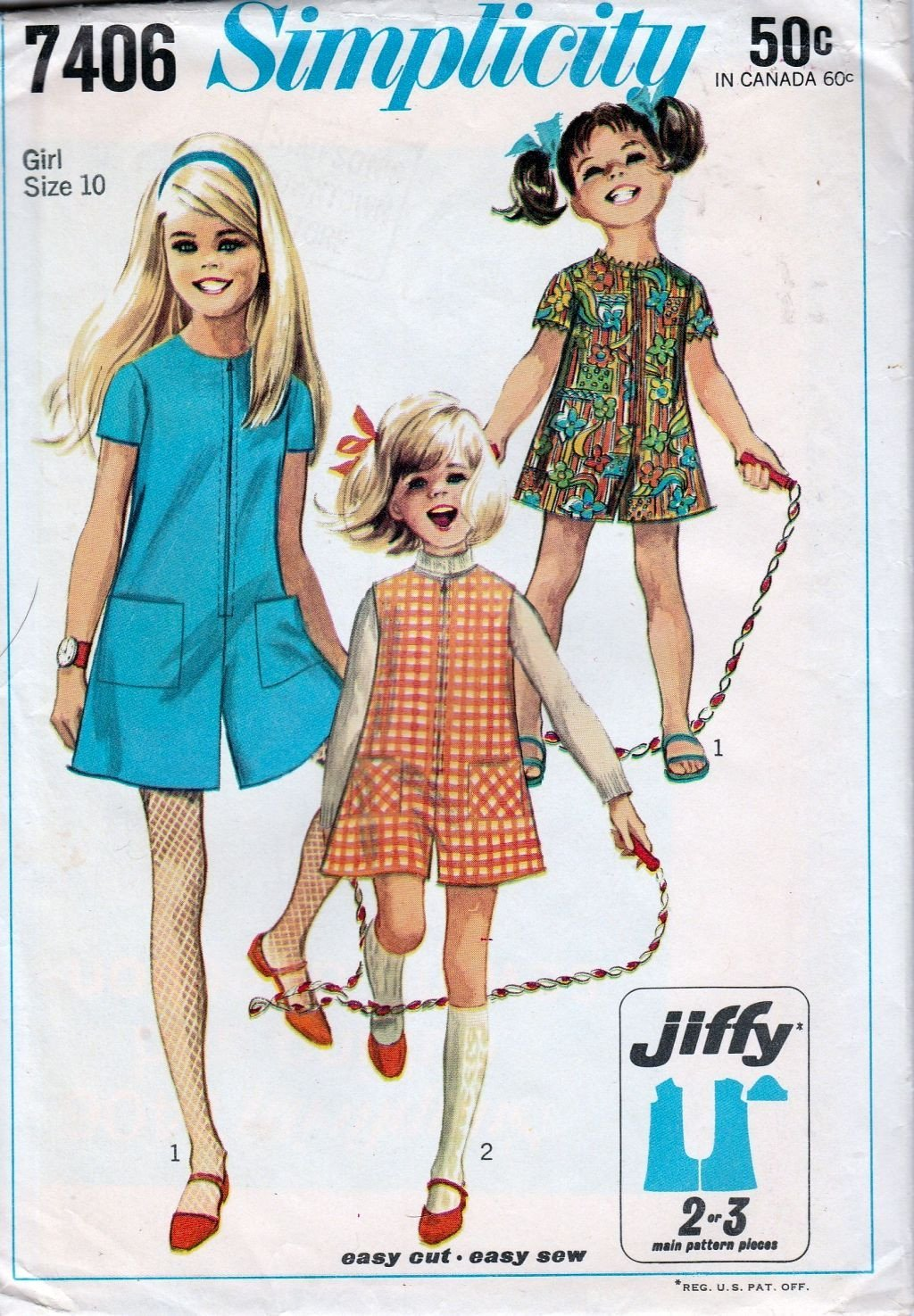 Simplicity 7406 Vintage 1960's Sewing Pattern Girls Pant Dress Jumper Jiffy - VintageStitching - Vintage Sewing Patterns