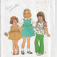 Simplicity 7458 Girls Dress Jumper Blouse Vintage 1970's Sewing Pattern - VintageStitching - Vintage Sewing Patterns