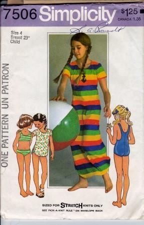 Simplicity 7506 Vintage Sewing Pattern Girls Bathing Suit Bikini Cover-Up Swim - VintageStitching - Vintage Sewing Patterns