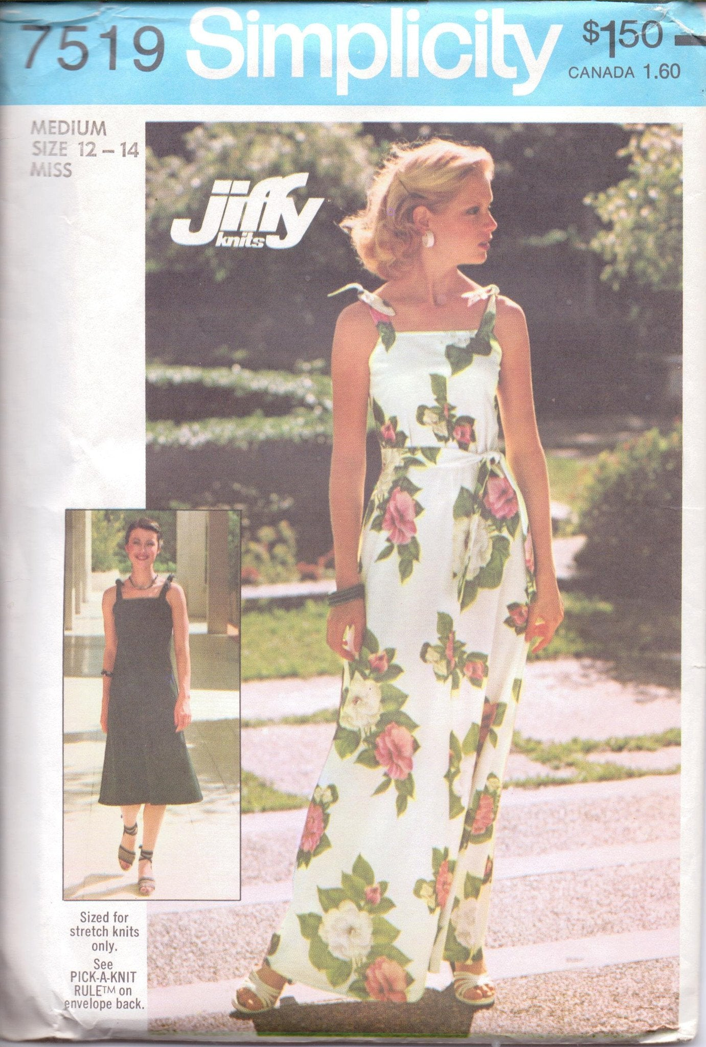 Simplicity 7519 Ladies Jiffy Knit Dress Long Floor Knee Length Vintage 1970's Sewing Pattern - VintageStitching - Vintage Sewing Patterns