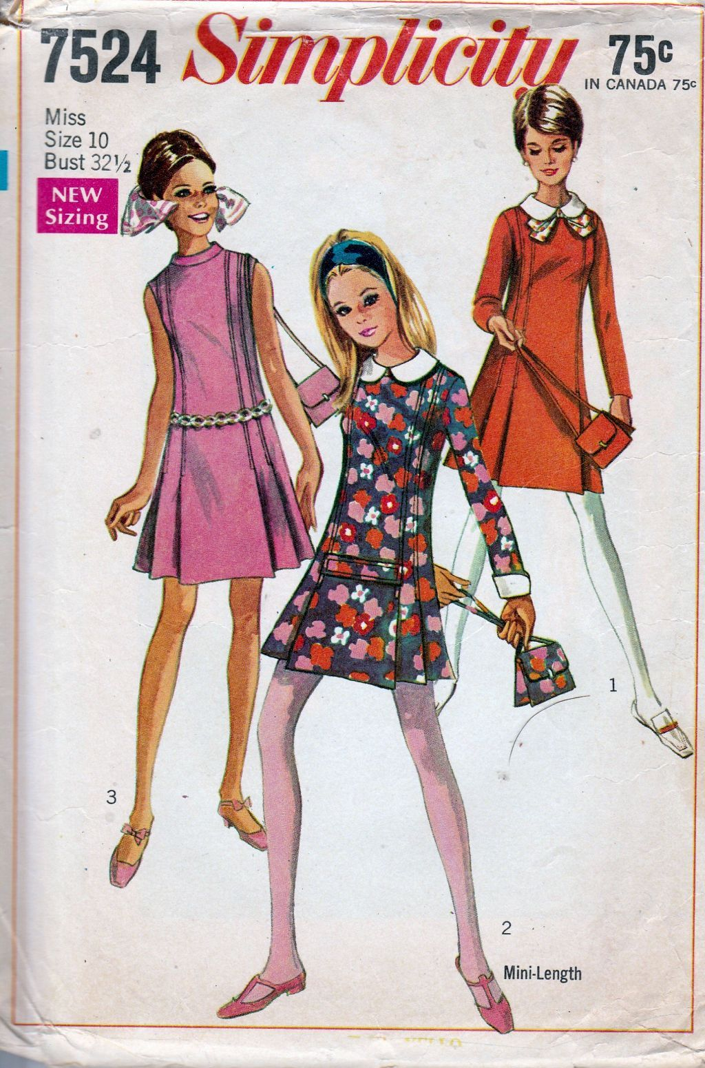 Simplicity 7524 Ladies Teen A-Line Dress Princess Seams - VintageStitching - Vintage Sewing Patterns