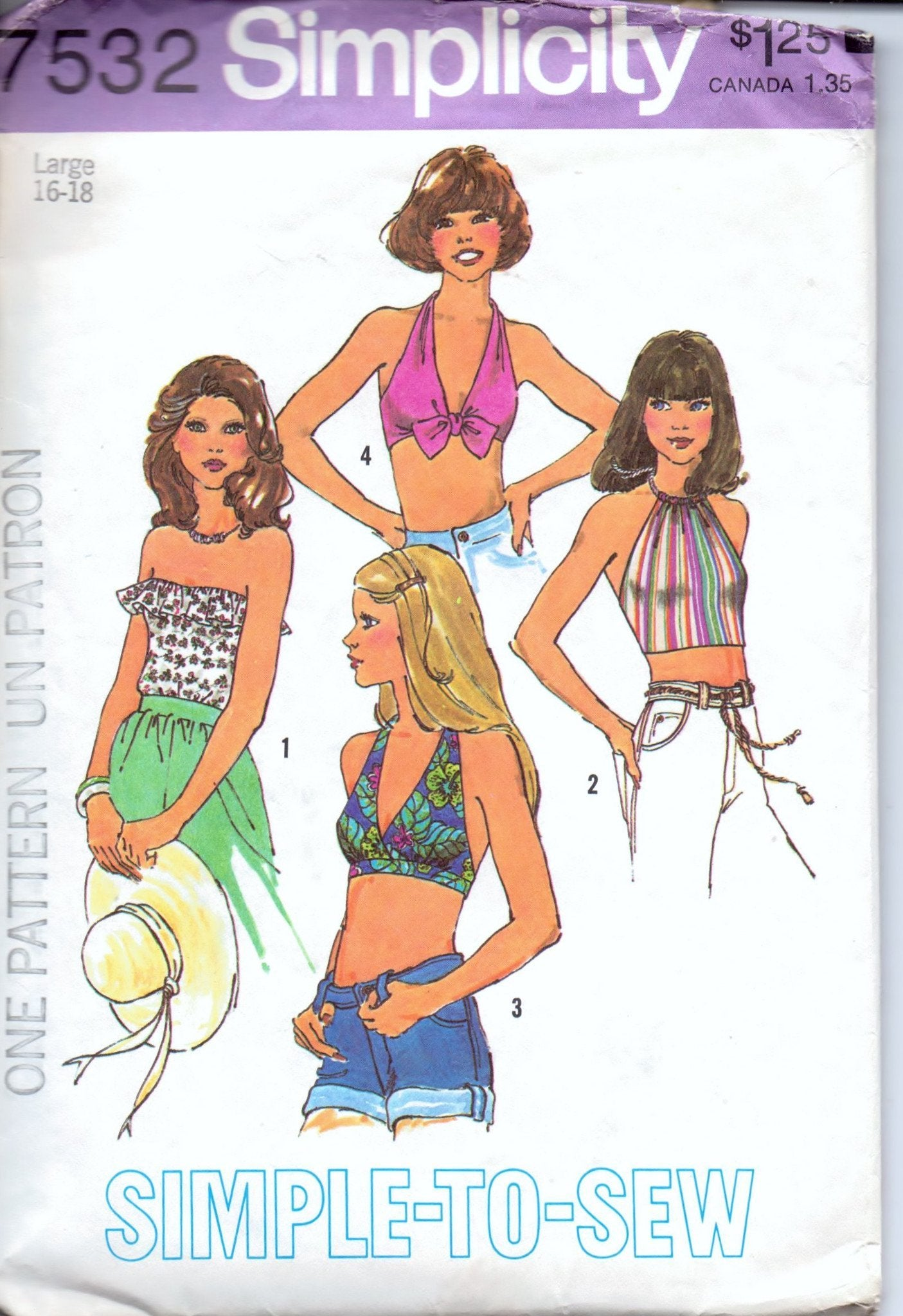 Simplicity 7532 Ladies Summer Halter Top Bikini Vintage 1970's Sewing Pattern - VintageStitching - Vintage Sewing Patterns