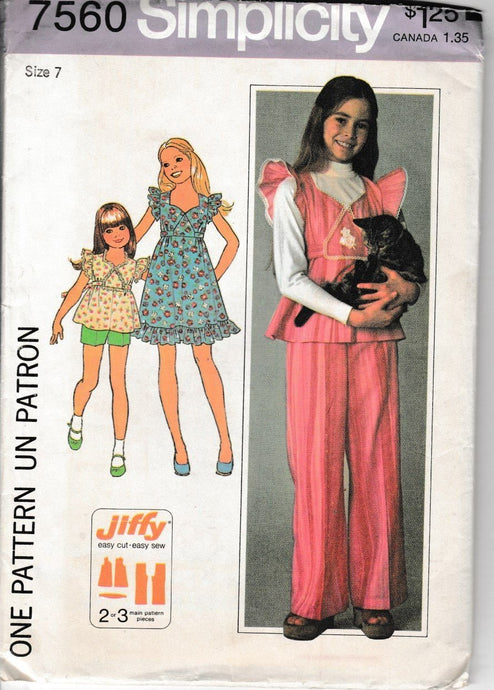 Simplicity 7560 Girls Dress Top Pants Shorts Vintage 1970's Sewing Pattern - VintageStitching - Vintage Sewing Patterns