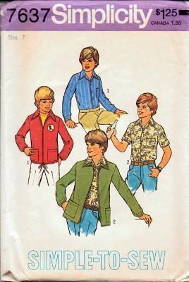 Simplicity 7637 Boys Unlined Jacket and Shirt Vintage Sewing Pattern - VintageStitching - Vintage Sewing Patterns
